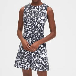 GAP Fit and Flare Dress Navy Blue & White Dot